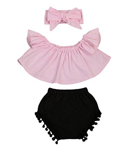 Baby Mädchen Outfit Set Schulter Bluse Top Shorts Stirnband 3pcs 0-24M (6-12 Monate, - Mädchen Pom Pom Shorts