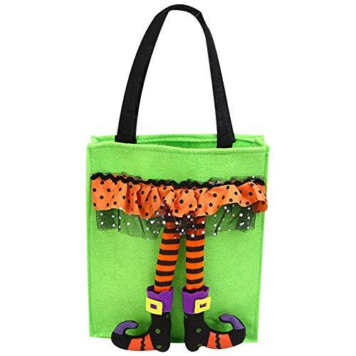 Halloween Goodie Taschen, Halloween Tasche Flax Leinen Party Süßigkeit Geschenkbeutel Tragetasche,Halloween Thema Staubbeutel für Halloween Party (Geist Bein Grün)