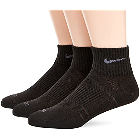 Nike 3PPK D-F Lightweight QTR - Calcetines unisex, color Negro (Black/Flint Grey), talla M