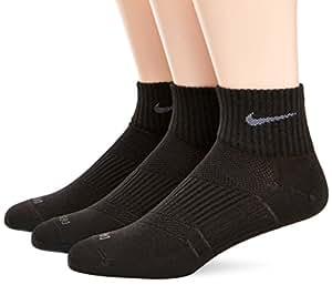 Nike Unisex Adult Dri-Fit Non-Cushion Lightweight 3 Pair Quarter Sock  - Black/Flint Grey, Small (2-5 UK) (34 - 38 EU)