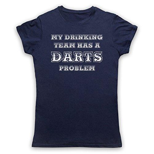 My Drinking Team Has A Darts Problem Funny Darts Slogan Damen T-Shirt Ultramarinblau