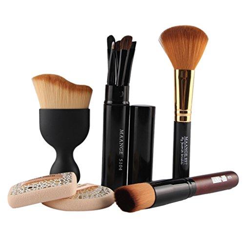 MagiDeal 10pcs Kit d'Outils de Maquillage Cosmétique Pinceaux de Maquillage Fond de Teint Peinture Visage Contour Yeux Puff Eponge Make-up