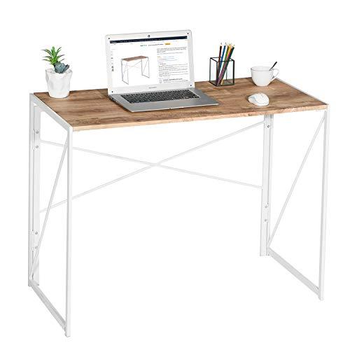 Coavas Klappbar Konferenztisch Schreibtisch Büro Arbeitstisch Schreibtisch Faltbar PC Tisch Industrial Style Klapp Laptop Tisch Computertisch für Home Büro weiß Eiche