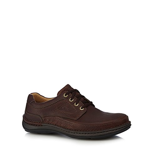 Clarks Mens Brown Leather 'Nature Three' Wide Fit Lace Up Shoes 8