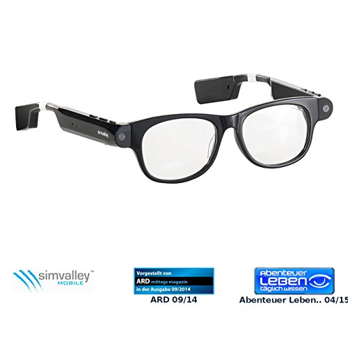 simvalley MOBILE Brille, Bluetooth: Smart Glasses SG-101.bt mit Bluetooth und 720p HD (Sonnenbrille...