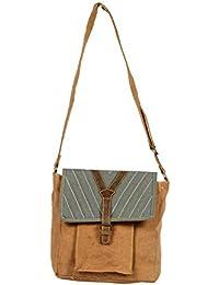 Priti Vintage Design Handbag Tote Bag Travel Bag In Washed Canvas Leather - B0791F87JM