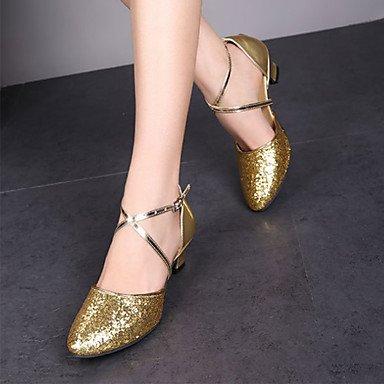 Wuyulunbi@ Donna Moderna Glitter spumanti Sneaker Indoor fibbia tacco basso Nero Oro Argento Rosso US5.5 / EU36 / UK3.5 / CN35