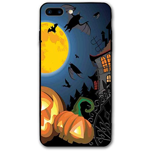 ZZHOO Compatible with iPhone 7/8 Plus Case, Gothic Halloween Haunted House Party Theme Design Trick Or Treat Motifs Print,Rubber Anti-Scratch Shock Absorption Protective Phone Cover