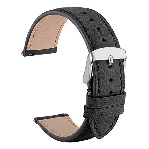 WOCCI Quick Release Uhrenarmbänder 20mm Wildleder Echtlederarmband mit Silber Edelstahl Pins Schnalle-Schwarz