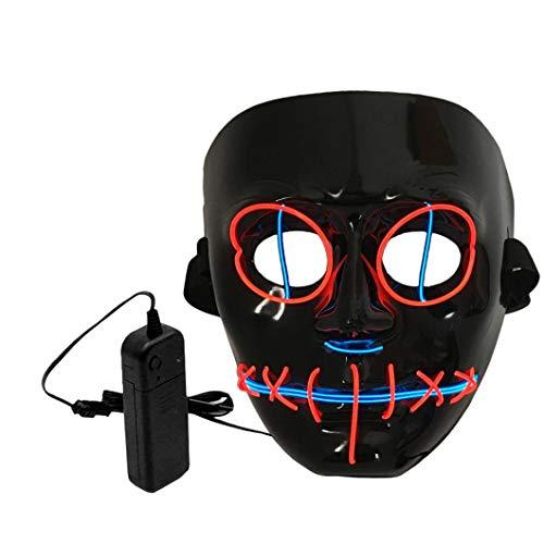 (LCLrute Halloween Maske LED Beleuchtung Maskerade Party Halloween Kostüm (Rot))