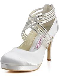 Zapatos de tacón alto de satén con punta cerrada y con bandas cruzadas de  diamantes de imitación marca ElegantPark 219aba39e83