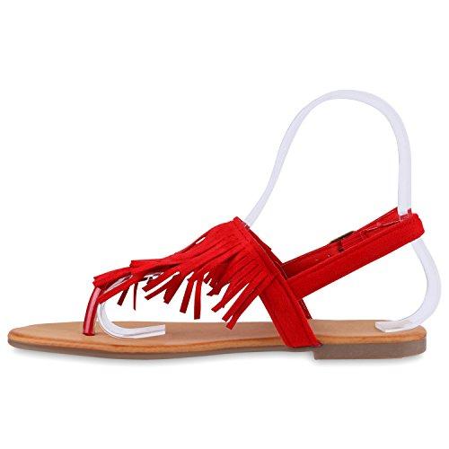 Modische Damen Fransen Sandalen Ethno Zehentrenner Sommer Schuh Rot