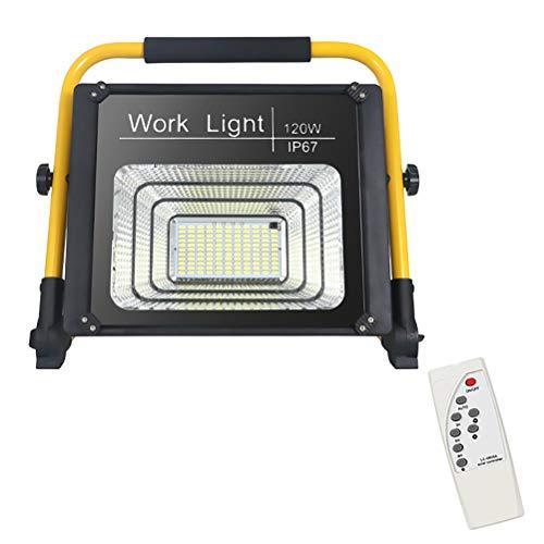 LED Flutlichtstrahler mit Fernbedienung, 3 Modi Dimmbar Timing Tragbar Außenstrahler mit USB-Anschluss IP66 Wasserdicht zusammenklappbar Arbeitsleuchte für Garten Autoreparatur Angeln Camping,120W