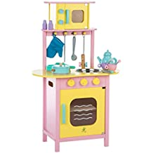 Ultrakidz Little Wooden Play Kitchen with Oven and Microwave, incl. Kitchen Utensils