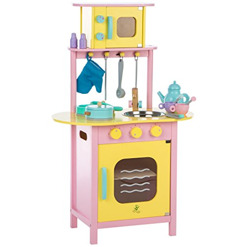 Ultrakidz Kleine Spielküche aus Holz mit Backofen und Mikrowelle, inkl. Kochausstattung - Küche Holz Wagen