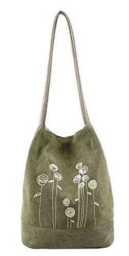 MKXI® Damen Handtasche Canvas Gedruckt Schultertasche Umhängetasche Shopper Tasche Grün