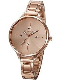 Geneva Platinum Analogue Rose Gold Dial Women's Watch (332)