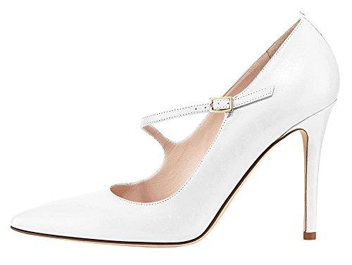 Guoar High Heels Damen Große Größe Pumps Schnalle Stiletto Mary Jane Halbschuhe Ballsaal Party Hochzeit Weiß