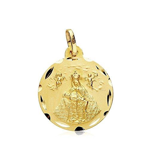 Medalla Oro 18K Virgen De África 18mm. Filo Tallado [Ab3439]