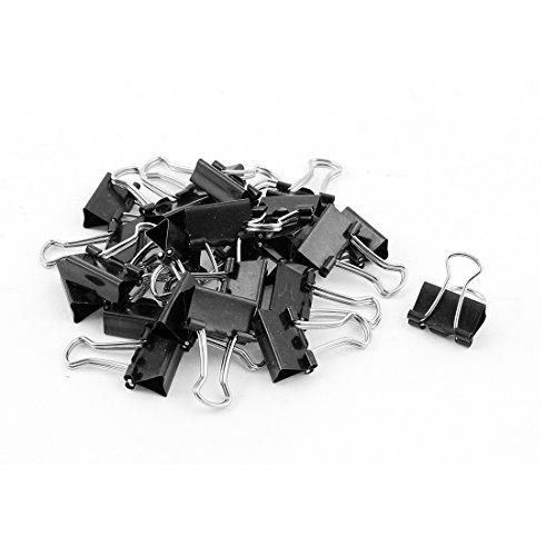 Escritorio de metal de papel de oficina Documento de escritorio Clips de la carpeta 24 piezas Negro width=