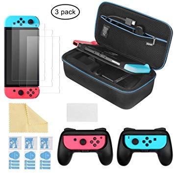 iAmer 6 in 1 Zubehör Kit für Nintendo Switch, Nintendo Switch Tragetasche + 2 Griff für Nintendo Switch Joy-Cons + 3 Stück Displayschutzfolien