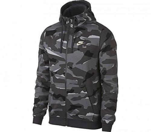 Nike Herren Sportswear Club Fleece Camo-Hoodie Mit Durchgehendem Reißverschluss, Cool Grey/Anthracite/White, M