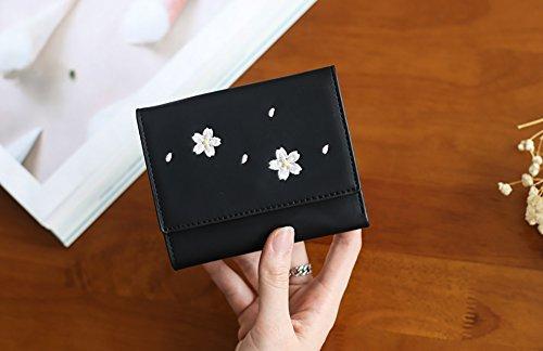CLOTHES- Portafoglio Donna Versione coreana del raccoglitore breve Mini raccoglitore sveglio di tre raccoglitori della borsa della moneta ( Colore : Nero ) Nero