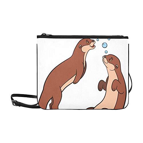Niedliche Cartoon Otter Paar Halten Hände Muster Benutzerdefinierte hochwertige Nylon Schlanke Handtasche Umhängetasche Umhängetasche
