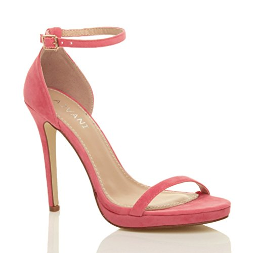 Femmes talons hauts boucle mode fête lanières chaussures sandales pointure Corail Daim