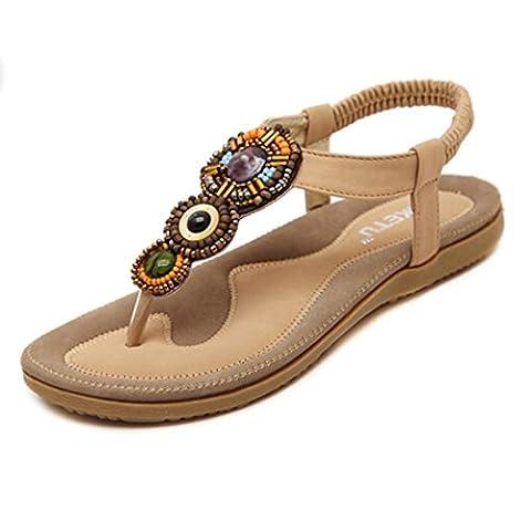 Ete 2016 Sandales Femmes Plates Pas Chere Doux Fashion perlée Toe femmes Flats Sandales Bohême (EU 40-Pied Longueur: 9.7-10.1