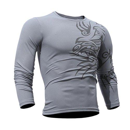 ❤️Veste Homme Sweatshirt Blouson❤️, Amlaiworld T-Shirt Mode Homme Blouse d'impression Tops à Manches Longues (L, Gris)