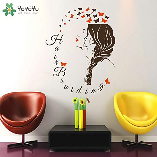 zhuziji Wall Decal Girls Beauty Salon Sticker Hairdresser Vinyl Wall Stickers Fashion Woman Hair Spa Removable Home Deco 57x71cm