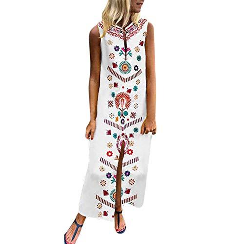 Zottom Damen Kleider,Frauen Printed Ärmel V-Ausschnitt Maxikleid Hem Baggy Kaftan Langes Kleid