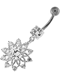Piercing India Clear CZ Crystal Stone Studded Lotus Flower 925 Sterling Silver Belly Ring Body Jewelry