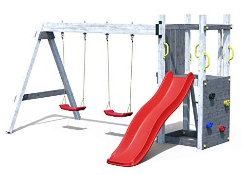 Spielturm Leon grau mit Schaukeln/roter Rutsche | Garten Kletterturm | Spielplatz | Klettergerüst | Spielgerät | Grau lackiertes Holz