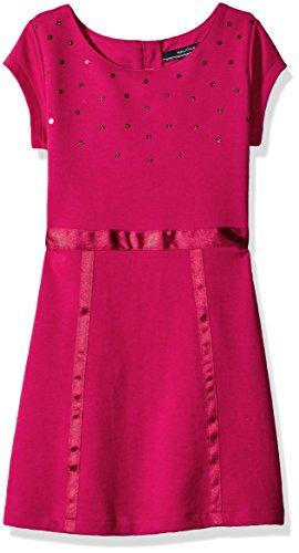 Nautica Little Girls Knit Dress with Sequin Neckline and Grosgrain Trims, Berry, 5 Berry Trim