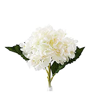 Wilk Artificial Hortensia Flores con Grandes Cabezas Seda racimo Ramo de la decoración del Banquete de Boda Inicio – Blanco