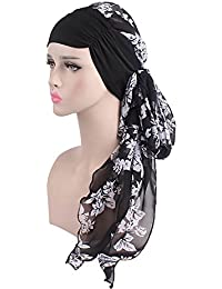 iBaste Turban Chimio Femme Hijab Bonnet Bandana Set Chapeau Plissé Tête  Enrouler Foulard pour Chimiothérapie,