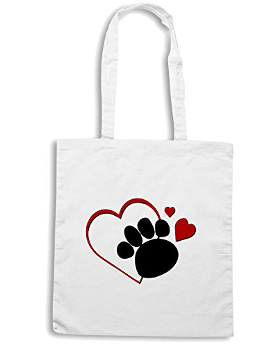 T-Shirtshock - Borsa Shopping OLDENG00047 dog paw print with love heart Bianco