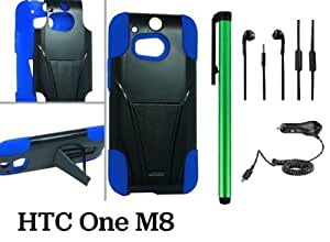 HTC One (M8) Premium Heavy-Duty KickStand Design Protector Hard Cover Case (For 2014 HTC new flagship Android phone; Carrier: Verizon AT&T T-Mobile Sprint) + Car Charger + 3.5MM Stereo Earphones + 1 of New Assorted Color Metal Stylus Touch Screen Pen (BLUE / BLACK)