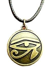 Collar Ojo Símbolo de Ra Horus Color Bronce Con Cordón Negro egipcia egipcio egipto colgante