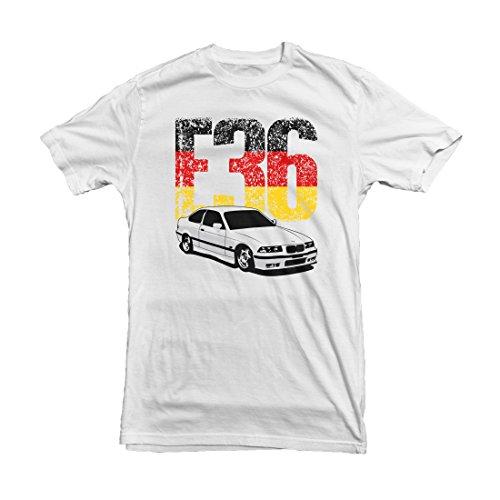 BMW E36 German Flag T-Shirt, White, S,M,L,XL,XXL White