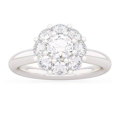 Anello donna peonia in oro bianco 18kt e palladio con diamanti