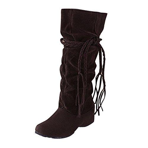 BHYDRY Schuhe Damen Mittlere Stiefel ErhöHen Sie Die OberschenkelhöHe Tessals Stiefel Motorrad Quaste Elegant Schuhe(39 EU,Braun) (Braune Stiefel Rot Reißverschluss)