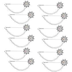 MagiDeal 12pcs Alfileres de Bufanda Broche Alfiler de Seguridad de Hijab Accesorio de Diamantes Blanco de Bricolaje