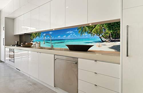 DIMEX LINE Küchenrückwand Folie selbstklebend Strand IM Paradies 350 x 60 cm   Klebefolie - Dekofolie - Spritzschutz für Küche   Premium QUALITÄT