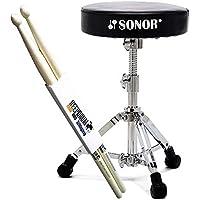 Sonor DT-2000 Drumhocker Schlagzeug Hocker + KEEPDRUM Drumsticks 1 Paar