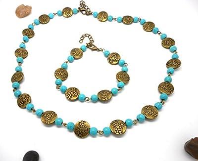 Parure collier bracelet style ethnique bleu par breloques et cie