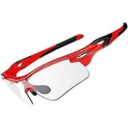 RockBros - Gafas para ciclistas polarizadas y fotocromáticas, ligeras, rojo