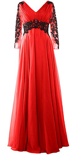 MACloth - Robe - Trapèze - Manches Longues - Femme red